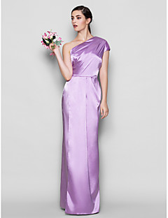 Floor-length Charmeuse Bridesmaid Dress - Lilac Plus Sizes / Petite Sheath/Column One Shoulder