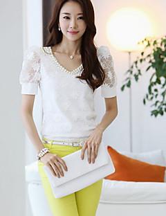 Mulheres Blusa Casual Simples Verão,Sólido Branco Algodão Decote V Manga Curta Média