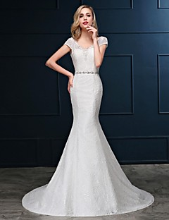 Trumpet / Mermaid Wedding Dress Floor-length V-neck Lace / Organza / Satin with