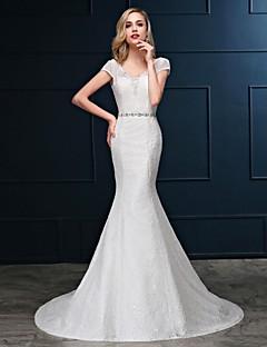 Trumpet/Mermaid Floor-length Wedding Dress -V-neck Satin