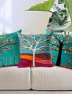set om 3 färgglada blommor träd bomull / linne dekorativa örngott