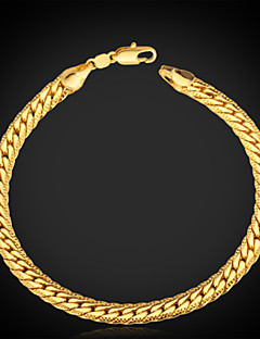 """u7® férfi 18k aranyozott Figaro vaskos karkötőt 5mm 21cm a """"18k"""" bélyeg minőségi ékszerek"""