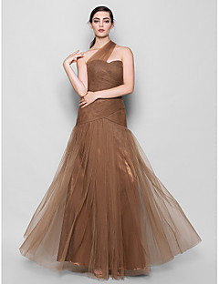 Lanting Floor-length Tulle Bridesmaid Dress - Brown Plus Sizes / Petite Fit & Flare One Shoulder