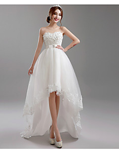 A-line Wedding Dress Simply Sublime Asymmetrical Sweetheart Tulle with Appliques Beading Sash / Ribbon Bow