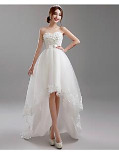 A-라인 웨딩 드레스 비대칭 스윗하트 튤 와