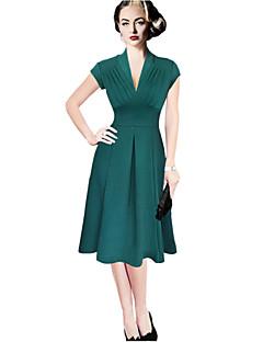 Mulheres Evasê Vestido,Casual Sensual Sólido Decote V Altura dos Joelhos Manga Curta Vermelho / Preto / Verde Algodão / OutrosTodas as