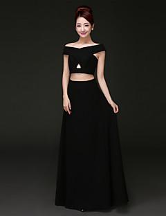 regreso a casa vestido de noche formal - negro una línea fuera del hombro de la gasa de la piso-longitud