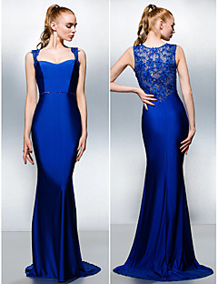 Vestido - Azul Real Festa Formal Sereia Rainha Anne Sweep / Brush Train Jersey