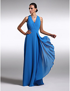 Sheath / Column V-neck Floor Length Chiffon Charmeuse Bridesmaid Dress with Criss Cross by LAN TING BRIDE®