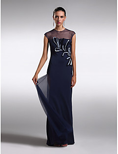 TS Couture® Formal Evening Dress - See Through Plus Size / Petite Sheath / Column Jewel Floor-length Tulle with Appliques