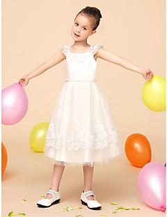 Flower Girl Dress Tea-length Lace/Satin/Tulle Ball Gown Sleeveless Dress(Headpiece Not Include)