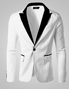 Men's Solid Casual / Work / Formal Style Slim Blazer,Cotton / Cotton Blend Long Sleeve White All Seasons Men's Fashion Wear