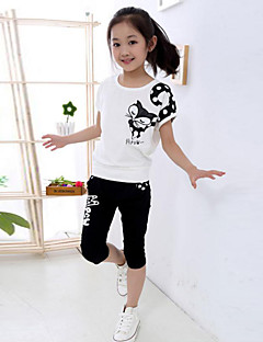Girl's Cotton/Polyester Leisure Cartoon Fox Print Short Sleeve Clothing Set