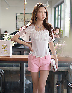Damen Solide Einfach Lässig/Alltäglich Hemd,Quadratischer Ausschnitt Sommer Kurzarm Weiß Polyester / Elasthan Dünn