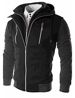 Men's Solid Casual Coat,Cotton / Polyester Long Sleeve-Black / Gray