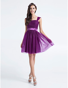 Lanting Bride® Knee-length Tulle Bridesmaid Dress A-line Square Plus Size / Petite with Ruching