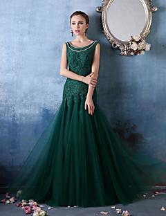 Fiesta formal Vestido - Verde Oscuro Corte Sirena Hasta el Suelo - Escote A la Base Encaje/Tul
