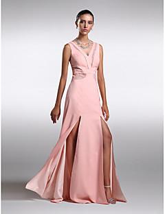 Formeller Abend Kleid - Perlen Pink Chiffon - Etui-Linie - Sweep / Pinsel Zug - V-Ausschnitt