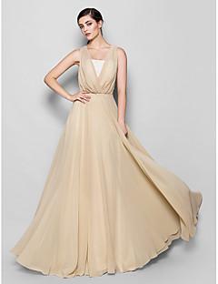 Lanting Bride® Na zem Šifón Šaty pro družičky - A-Linie Bez ramínek / Do V Větší velikosti / Malé s Krajka