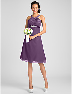 Lanting Bride Knee-length Chiffon Bridesmaid Dress A-line / Princess Jewel / Straps Plus Size / Petite withBeading / Sash / Ribbon /