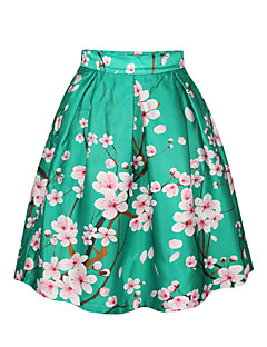 PinkQueen Women's Polyester/Spandex  Sakura Printed Retro Pleated Skirt