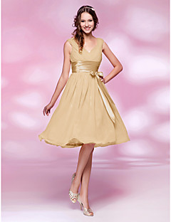 Lanting Bride Knee-length Chiffon Bridesmaid Dress - Mini Me A-line / Princess V-neck Plus Size / Petite withBow(s) / Draping / Sash /