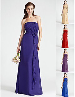 Floor-length Chiffon Bridesmaid Dress - Regency / Royal Blue / Ruby / Champagne / Grape Plus Sizes / Petite Sheath/Column Strapless