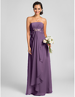 Lanting Bride® Floor-length Chiffon Bridesmaid Dress - Sheath / Column Strapless Plus Size / Petite withDraping / Crystal Brooch / Criss