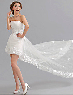 A-line Asymmetrical Wedding Dress - Strapless Tulle