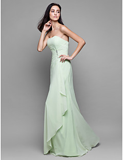 Lanting Bride® Floor-length Chiffon Bridesmaid Dress - Sheath / Column Strapless with Crystal Detailing / Cascading Ruffles