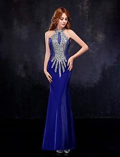 Fiesta formal Vestido - Azul Real Corte Sirena Hasta el Suelo - Escote Alto Tul
