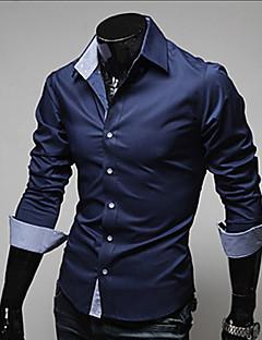 Menn Langermet Skjorte Bomull / Polyester Fritid / Arbeid / Formelt Ensfarget