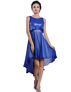 Cocktail Party Dress - A-line Jewel Asymmetrical Chiffon
