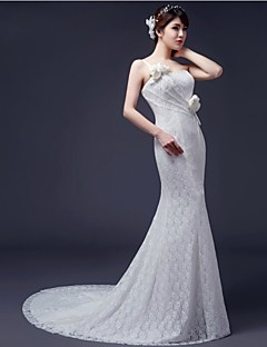Trumpet/Mermaid Wedding Dress - White Sweep/Brush Train One Shoulder Lace