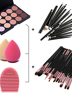 15 Colors Facial Concealer Palette+20pcs Brushes+Brush Cleaning Tool+Beauty Makeup Foundation Egg Puff(Assorted Sets)