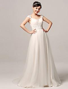 웨딩 드레스 - 화이트 A 라인 쿼트 트레인 스트랩 오르간자