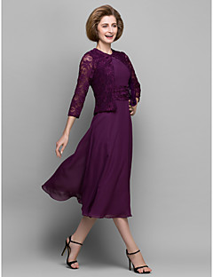A-line Mother of the Bride Dress - Grape Tea-length 3/4 Length Sleeve Chiffon/Lace