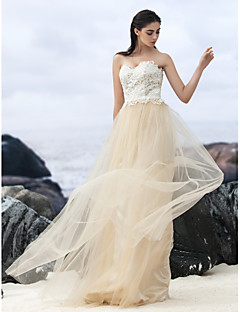 Lanting Bride A-line Wedding Dress-Sweep/Brush Train Sweetheart Lace / Tulle