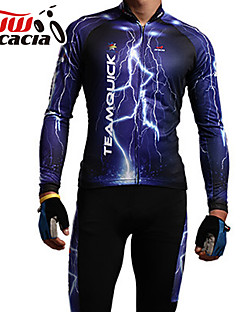 acacia Cycling Jersey with Tights Unisex Long Sleeve Bike Jersey Clothing SuitsAnatomic Design Dust Proof Breathable Static-free