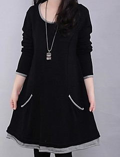 Women's Casual/Daily Plus Size Dress,Color Block Round Neck Above Knee Long Sleeve Blue / Black Cotton Winter