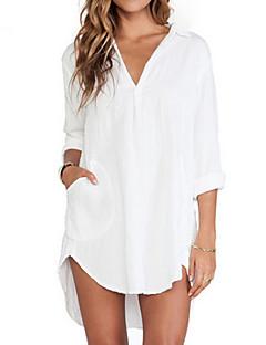Damen Solide Einfach Lässig/Alltäglich Hemd,V-Ausschnitt / Hemdkragen Herbst Langarm Weiß Dünn