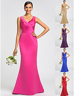 Bridesmaid Dress Sweep Brush Train Satin Trumpet Mermaid V Neck Dress With Bows