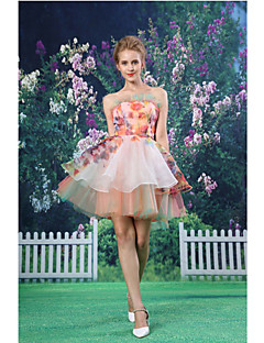 Cocktail Party Dress - Blushing Pink A-line Strapless Short/Mini Organza / Satin