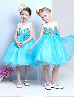 A-line Knee-length Flower Girl Dress - Cotton/Tulle/Sequined/Polyester Sleeveless