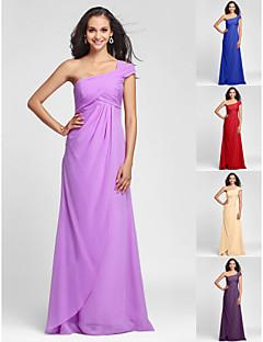 신부 들러리 드레스 - 라일락 시스/컬럼 바닥 길이 원 숄더 쉬폰 플러스 사이즈