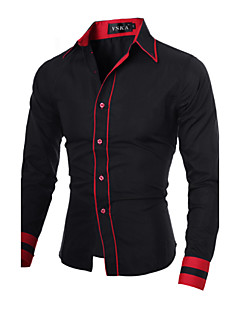 Men's Casual/Daily Work Plus Size Simple Spring Fall Shirt,Color Block Classic Collar Long Sleeves Cotton Polyester
