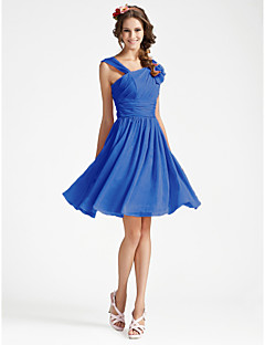 Knee-length Georgette Bridesmaid Dress A-line / Princess V-neck Plus Size / Petite with Draping / Ruffles / Side Draping / Ruching