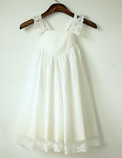 A-line Tea-length Flower Girl Dress - Cotton / Lace Sleeveless Straps with