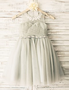Princess Grey Beaded Sash Knee-length Flower Girl Dress - Tulle Sleeveless