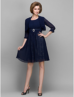 A-line Mother of the Bride Dress - Dark Navy Knee-length 3/4 Length Sleeve Chiffon